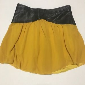 Free people yellow skirt w/ faux leather waistband
